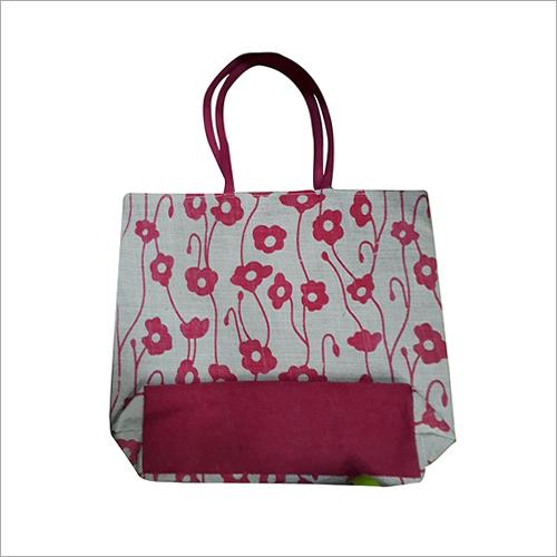 Jute Floral Printed Bag