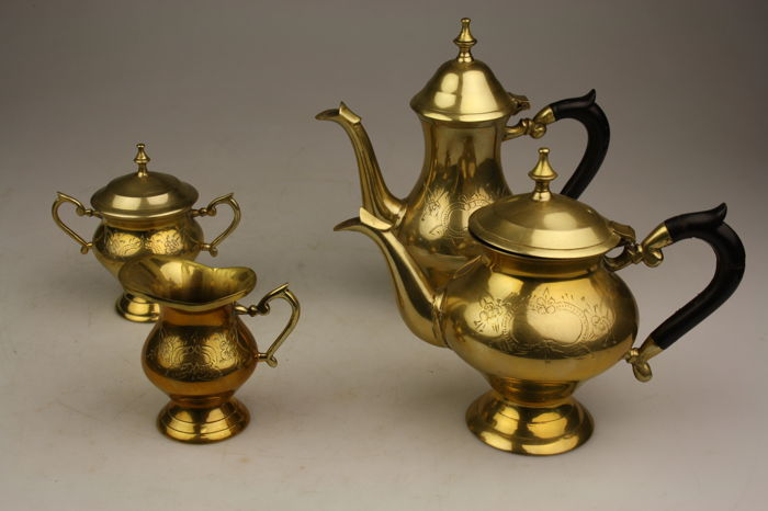 Piece Solid Brass Tea Set Made In India