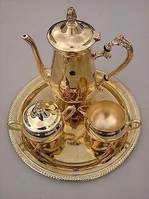 Brass Decorative Tea Set with Gold Tray