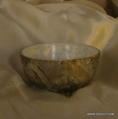 SILVER DINNER TABLE GLASS BOWLS