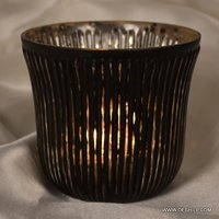 BLACK SILVER GLASS CANDLE HOLDER