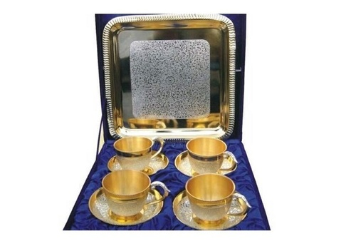 Gold & Silver Cups & Tray with Blue Velvet Box