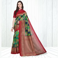 Mysore Silk Panchhi Print Saree In MultiColor With Fancy Tussels