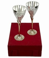 Decorative German Silver wine Glasses Set of 2 with Box