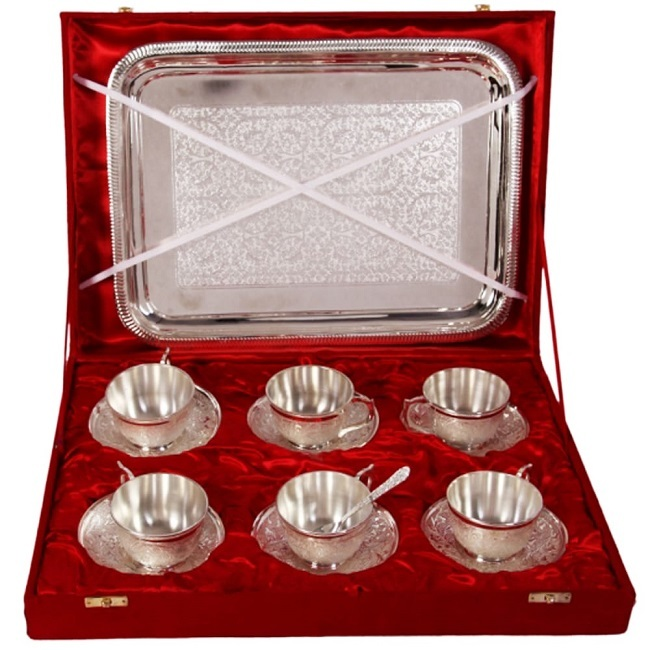 Beautiful Brass Silver Plated 4 Cups Tea set with Gift Box