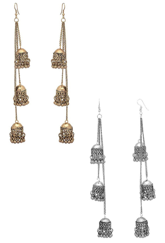 Afghani Kashimiri Tribal Oxidised Faishion Multi Jhumki