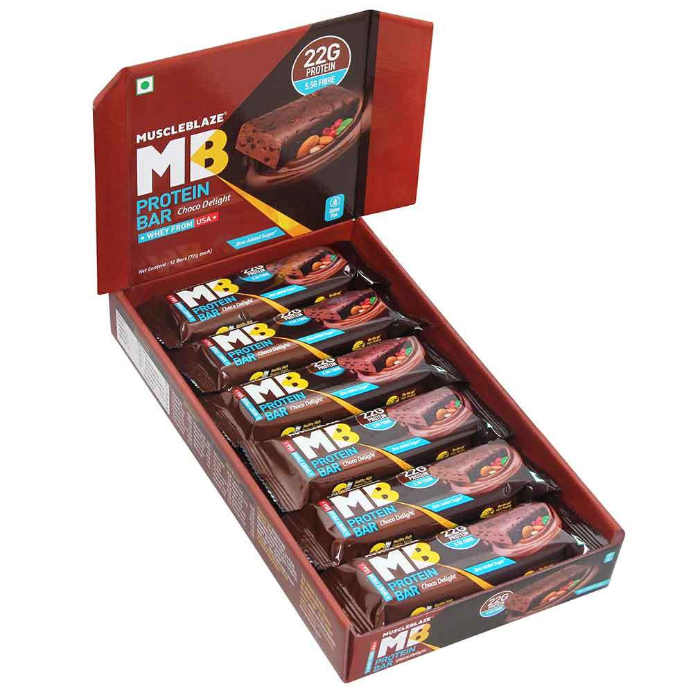 MuscleBlaze Protein Bar (22g Protein), 12 Piece(s)/Pack Choco Delight