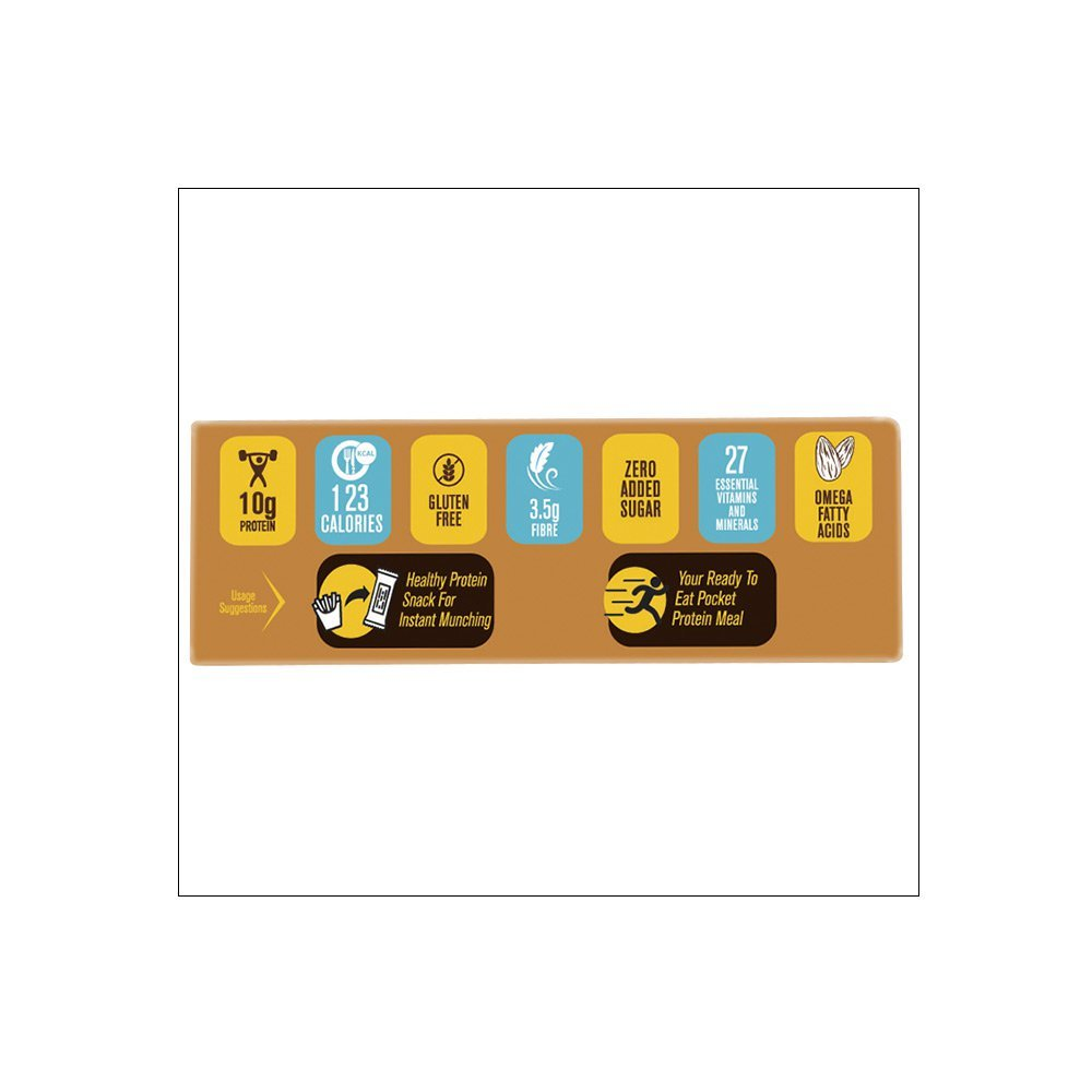 MuscleBlaze Mini-Protein Bar (10g Protein), 12 Piece(s)/Pack Almond Fudge
