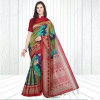Women's Mysore Silk Peacock Print Saree