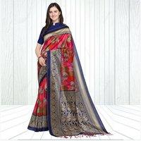 Mysore Silk Dandiya-Ras Print Saree In MultiColor