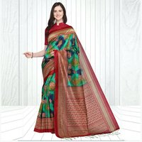 Mysore Silk Airawat & Peacock Print Saree In MultiColor With Fancy Tussels In Pallu