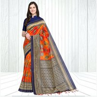 Mysore Silk Airawat & Peacock Print Saree In MultiColor With Fancy Tussels