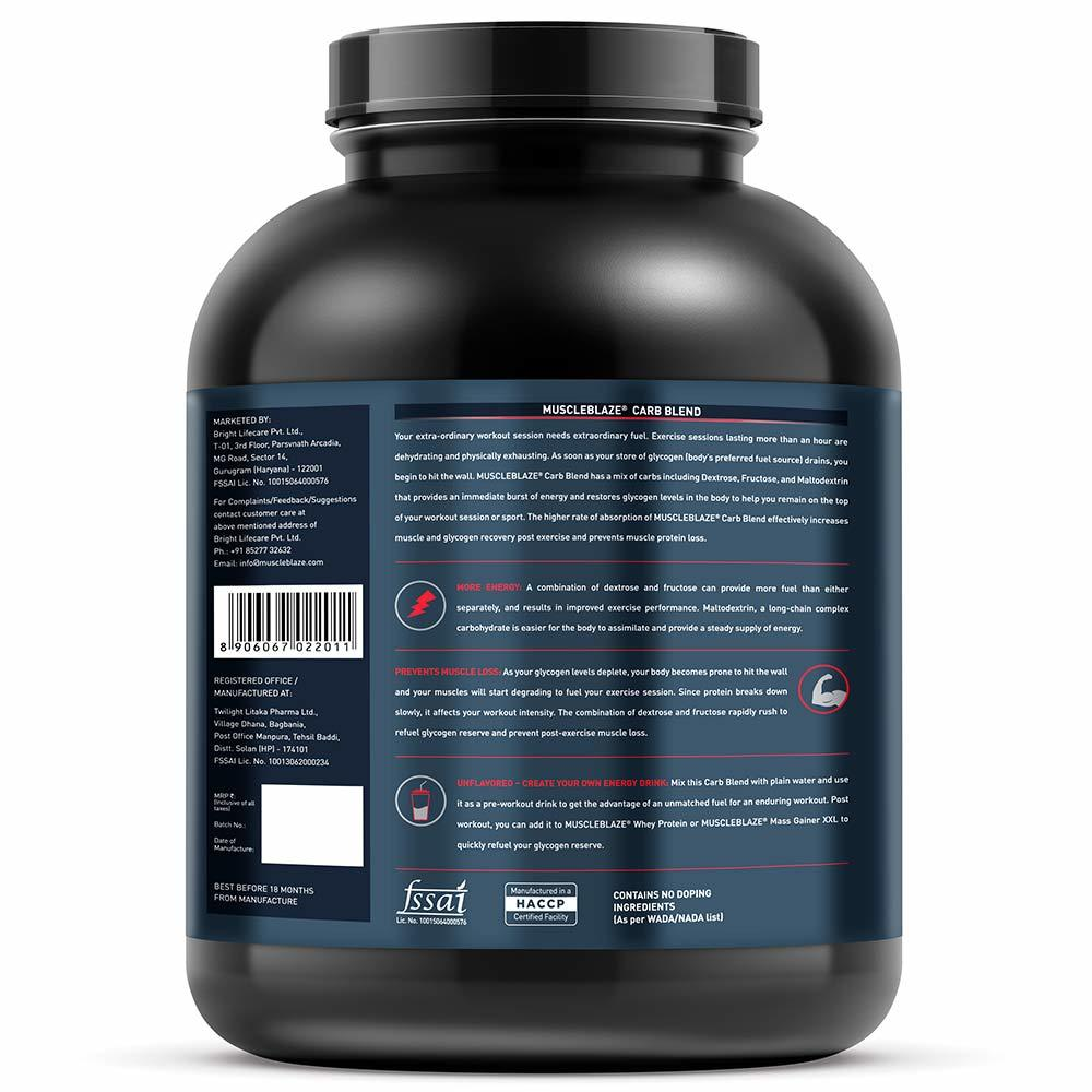 MuscleBlaze Carb Blend,3kg( 6.6 lb )Unflavoured