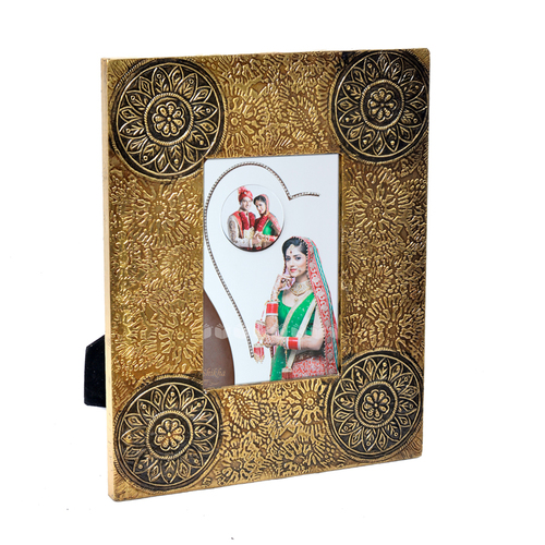 Home Decor Wooden Photo Frame Brass Fitted Handicraft Decorative Item