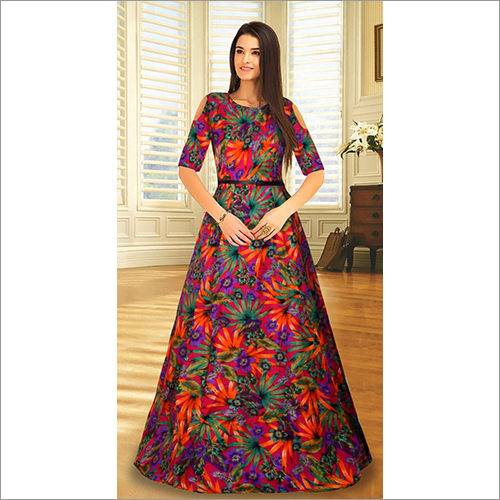Printed Gown Style Ladies Party Kurti