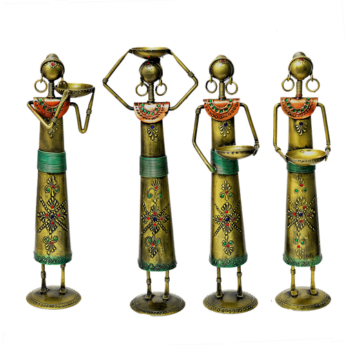 4 Set Of Indian Handicraft Home Decor Golden Polish Labor Lady Statue Decorative Craft Item