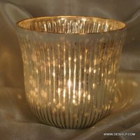 GLASS SILVER FINISH CANDLE VOTIVE