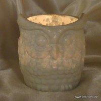OWL DESIGN GLASS CANDLE HOLDER