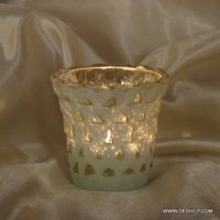 WHITE SILVER POLISH GLASS CANDLE HOLDER
