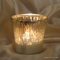 SMALL GLASS SILVER POLISH CANDLE VOTIVE
