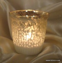 SILVER POLISH GLASS CANDLE HOLDER