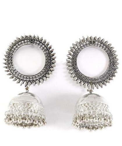Silver Big Stud Oxidised Casual Jhumki