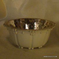 SILVER FINISH DECOR GLASS BOWL
