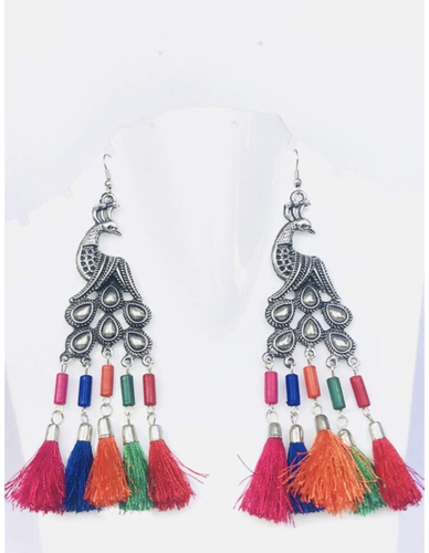 Designer Peacock Shape Silver Plating Oxidised Earring Multi