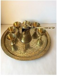 Beautiful Brass Dallah Coffee Set of 8