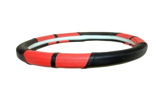 Tavera Black & Red Steering Cover