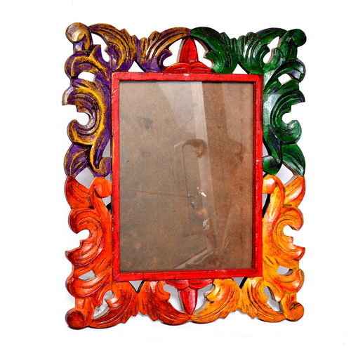 New Indian Handmade Decorative Colored Wooden Photo Frame Handicraft Item