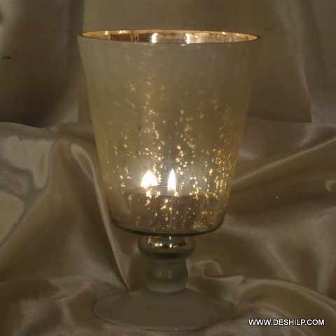 SILVER GLASS HURRICANE CANDLE HOLDER