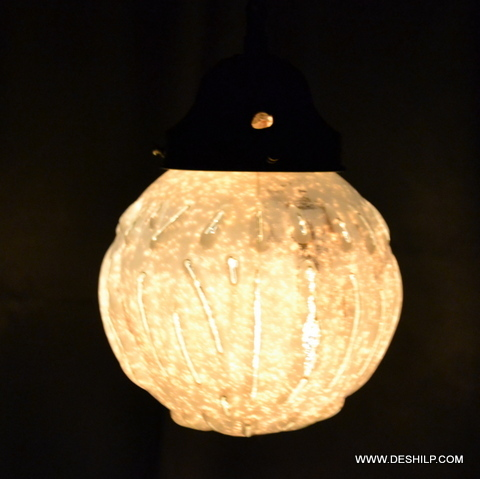 DECORATED GLASS WALL HANGING LAMP