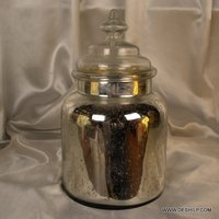 GLASS SILVER JAR WITH GLASS LID