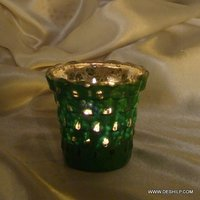 GREEN COLOR GLASS CANDLE HOLDER