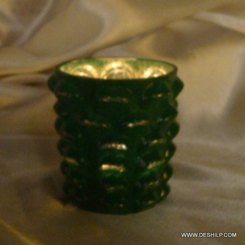 SILVER GREEN GLASS CANDLE VOTIVE