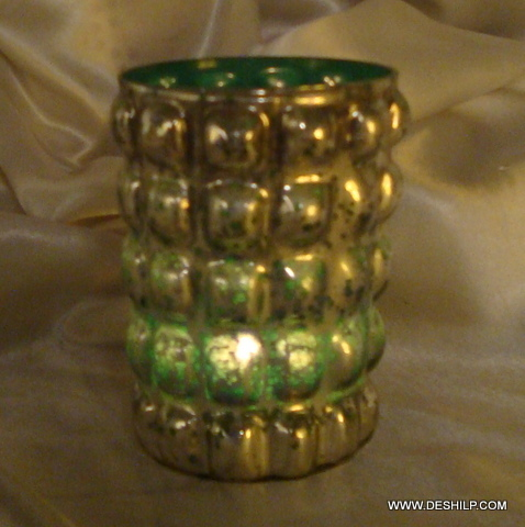 GREEN GLASS SILVER CANDLE VOTIVE