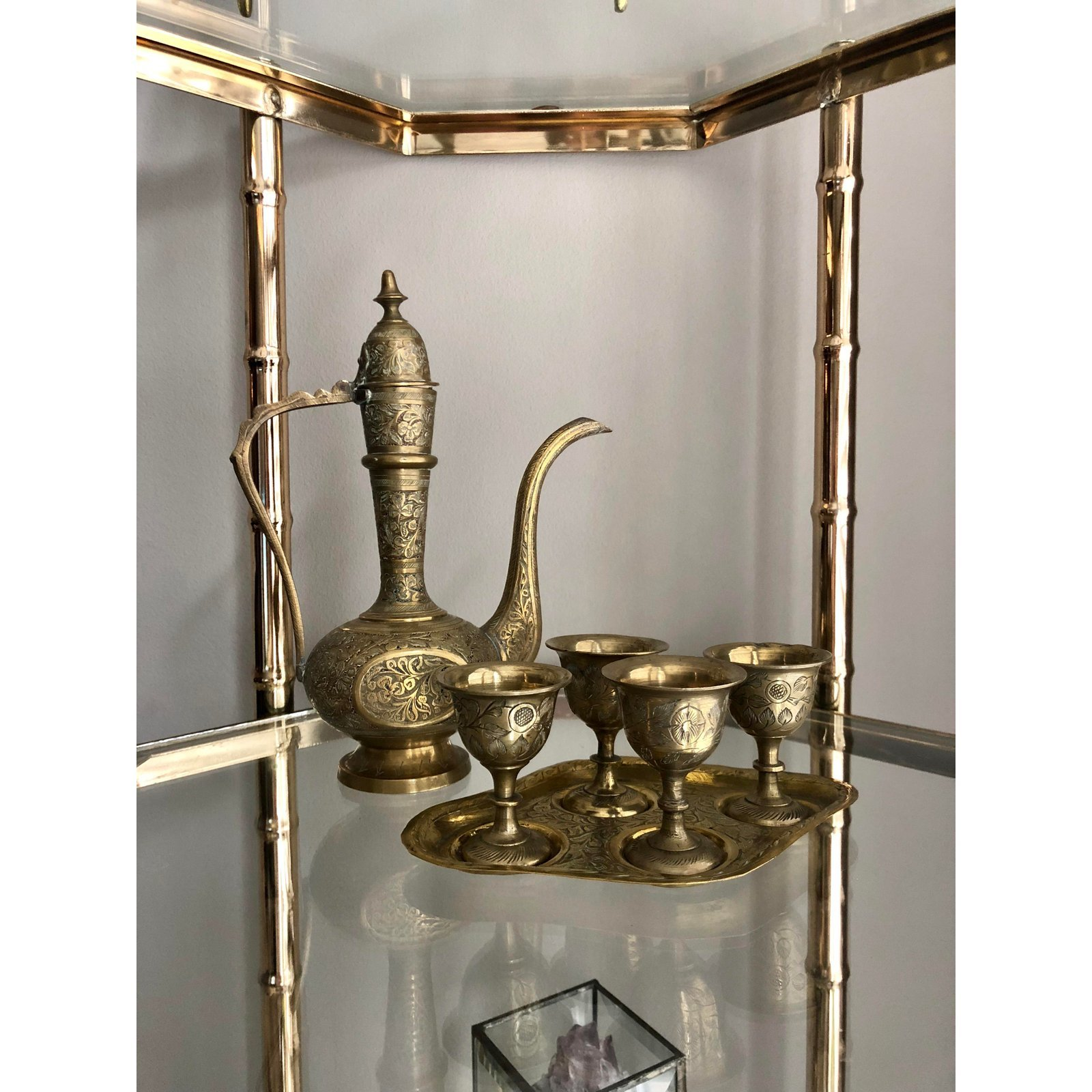 Hollywood Regency Six Piece Etched Brass Dallah