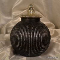 SILVER FINISH ANTIQUE SHAPE GLASS JAR WITH LID