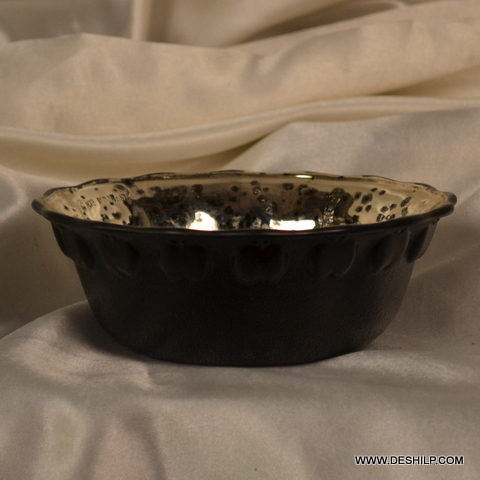 ANTIQUE GLASS SILVER BOWL