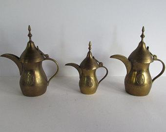 Set of Brass & Copper Antique Arab Dallah Coffee Pots