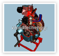CUT SECTION MODEL OF TWO STROKE SINGLE CYLINDER DIESEL ENGINES