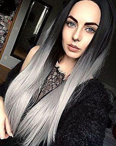 Black Silver Ombre Straight Wig