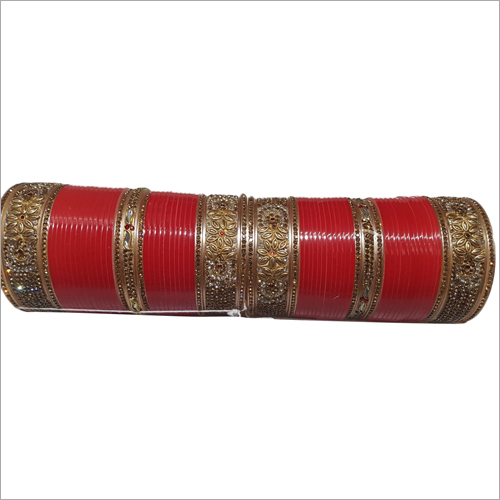 Plastic Stone Studded Punjabi Chura Set