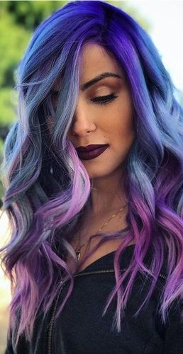 Blue Purple Ombre Wig