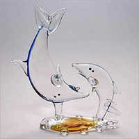 Glass Dolphin Fish Pair Statue
