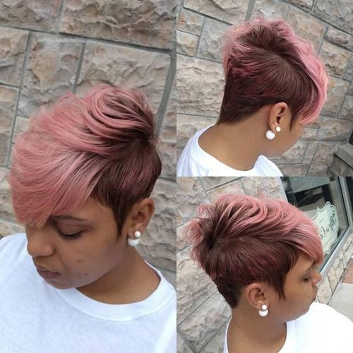 Pink Brown Short Wig