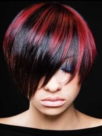 Red Black Piano Pixy Cut Wig