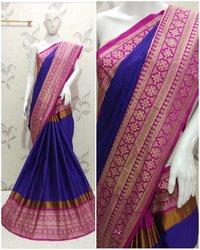 Beautiful Embroidery Cotton Silk Saree (Aura Aangi Mayura)