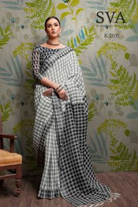 Pure Linen Plain Saree